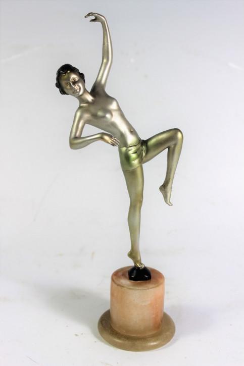 Orignal Antike Österreichische Art Deco Metall Akt Tänzerin ca. 1930