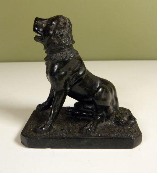 Original Antike Englische Alcibiades Hund Marmorfigur ca. 1850
