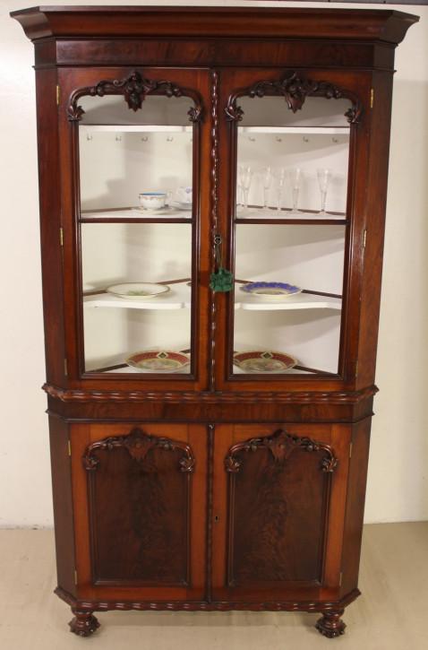 Großer viktorianischer Mahagoni Eckschrank original antik