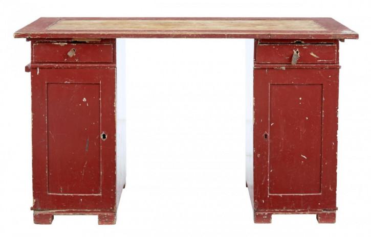 Original antiker schwedischer Kiefern Pedestal Schreibtisch bemalt 1870