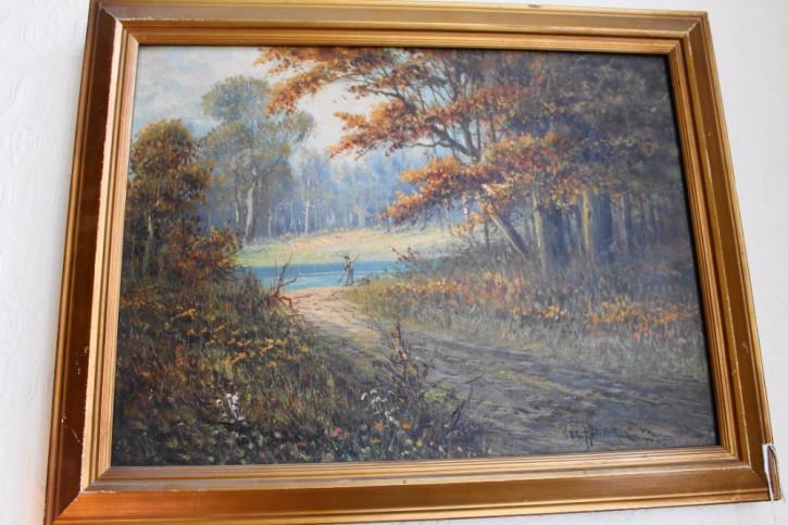 """Ausgezeichnetes AntikesÖlgemälde Bild mit Rahmen """"Angler mit Herbstbäumen"""" 19. Jh"""