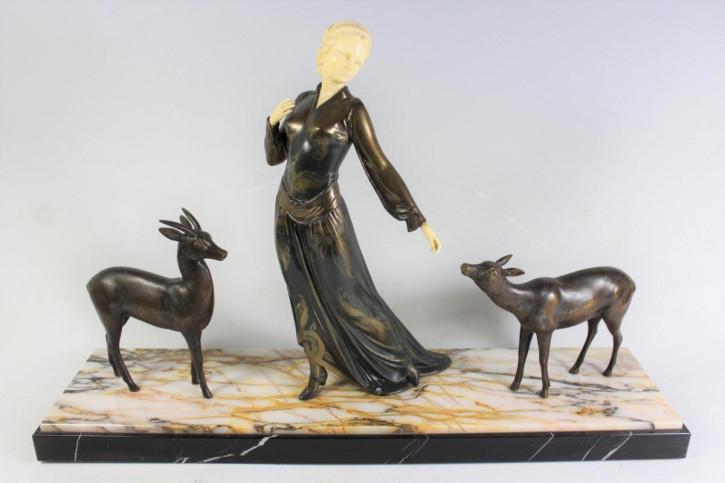 Original Antike Französische Menneville Art Deco figural Gruppe ca. 1930