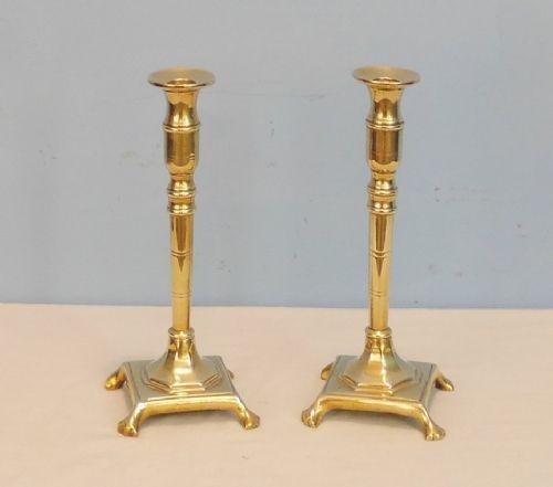 TraumhaftesAntikes Englisches Paar Kerzenständer aus Messing ca. 1880