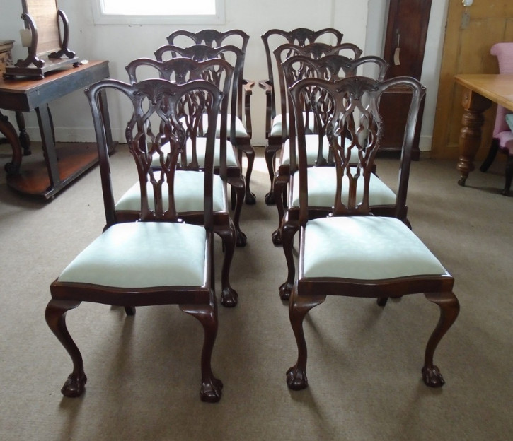 8 Original Antike Englische Mahagoni Esszimmerstühle ca. 1900