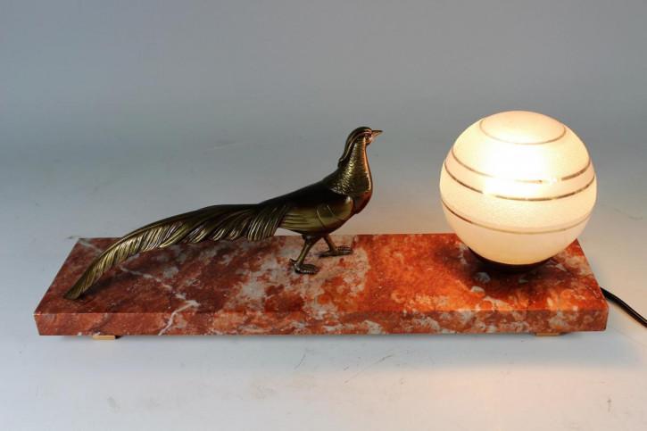 HervorragendeAntike Französische Art Deco Pfauen Lampe ca. 1930