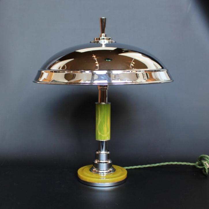 Zeitlose antike Art Deco Tischlampe Bakelit Metall Englisch 1930