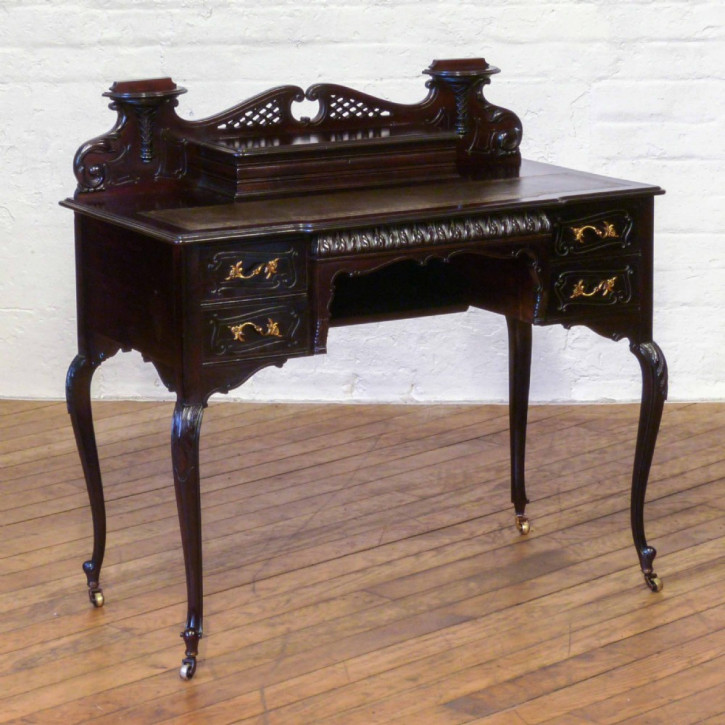 Edwardianischer englischer Mahagoni Schreibtisch original antik 1890