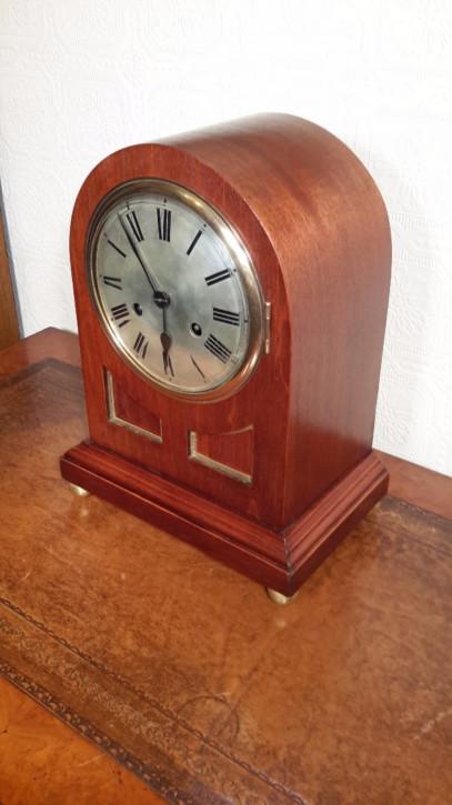 Ausgzeichnete antike deutsche Mahagoni Uhr Kaminuhr Junghans 1890