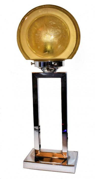 Original Antike Englische Art Deco Chrom Tischlampe ca. 1930
