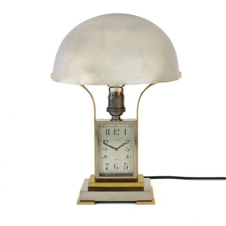 Original Antike Englische Chrom Art Deco Tischlampe mit Uhr ca. 1930