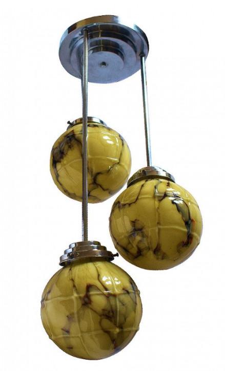 Original Antike Englische Art Deco Chrom Deckenleuchte ca. 1930