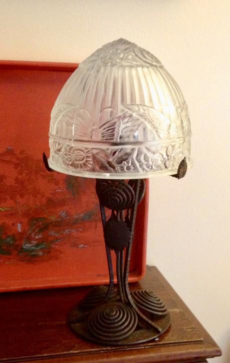 Tolle Englische Antike Art Deco Tischlampe Glaskuppel ca. 1930