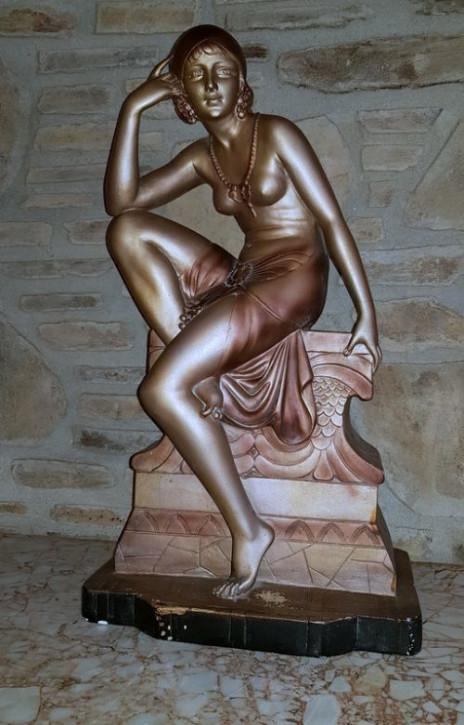 """Hinreißende Antike Französische Art Deco Cipriani """"Verführung"""" Statue ca. 1930"""