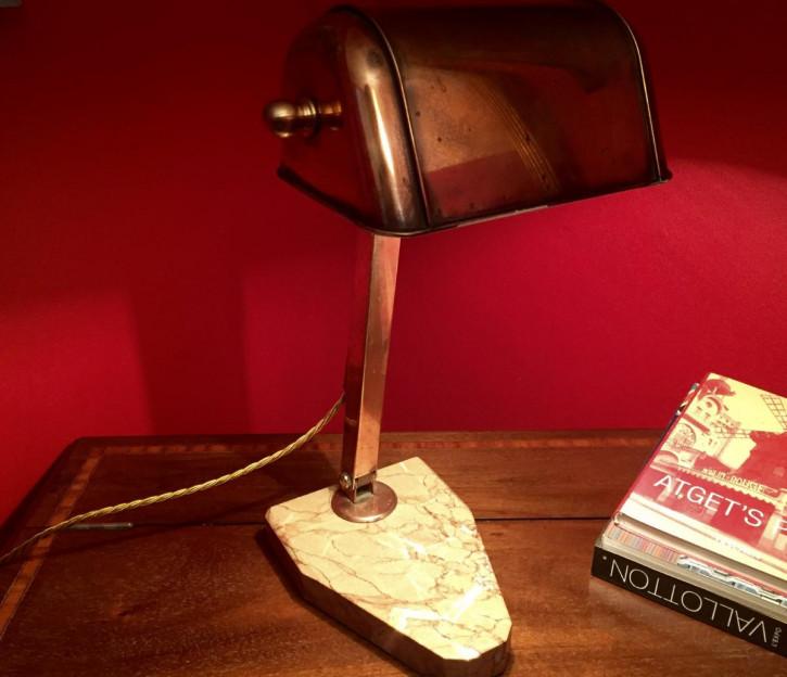 """TraumhafteAntike Englische Schreibtischlampe Kupfer """"fare"""" ca. 1930"""
