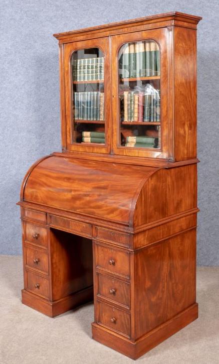 Eleganter Antiker Englischer Mahagoni Sekretär mit Bücherregal Aufsatz ca. 19. JH