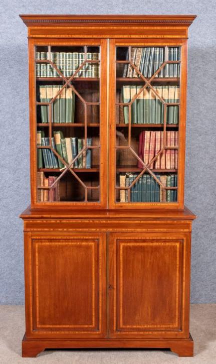 Wunderschönes Englisches Edwardianisches Mahagoni Bücherregal antik ca. 1910