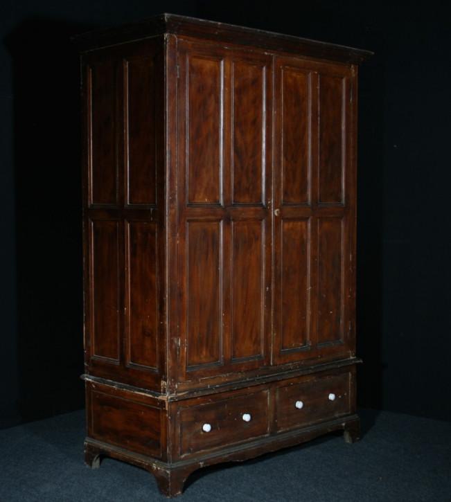 Großer, original antiker Schrank Kiefer Kleiderschrank Weichholz englisch Westcountry lackiert 19. Jh
