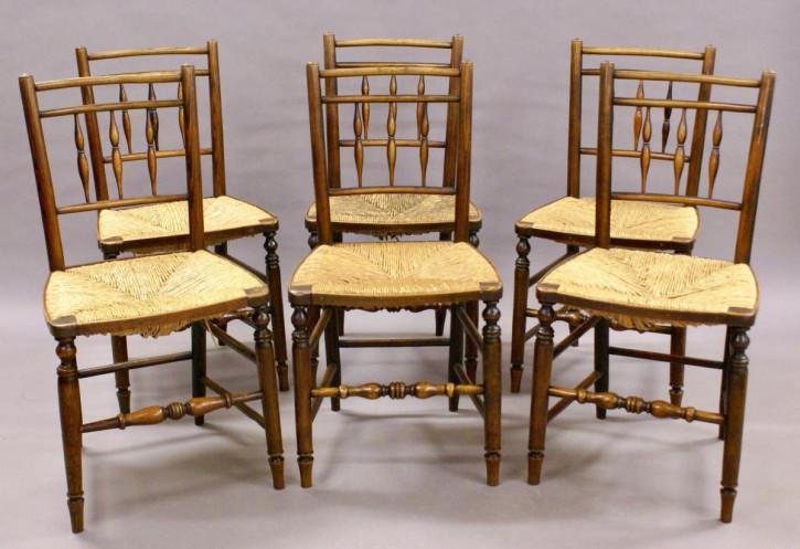 6 Stk original antike englische Stühle Esche 19. Jh