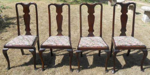 4 Stk original antike Queen Anne Mahagoni Esszimmer Stühle englisch ca 1920