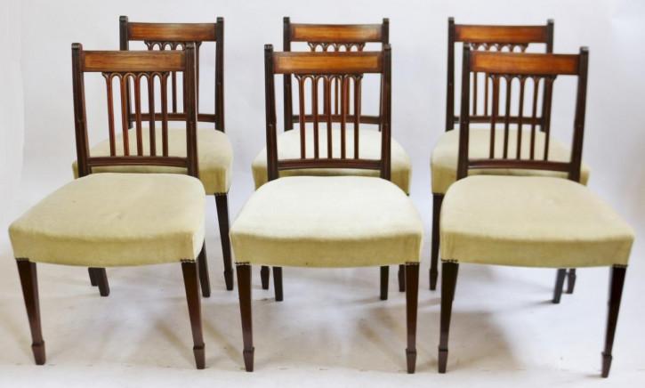 6 Stk original antike georgianische Mahagoni Esszimmer Stühle George III englisch 1770
