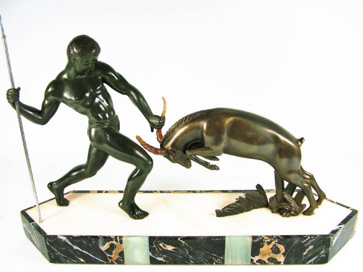 """Schöne antike Art Deco Figur Bronze französisch """"Jäger"""" von Kowas ca 1925"""