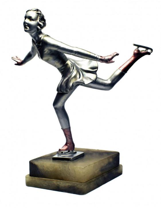 Original antike Art Deco Bronze Figur Eiskunstläuferin Josef Lorenzl ca 1930s