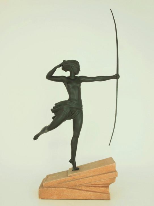 Französische antike Art Deco Bronzefigur Atalante Demarco ca 1930