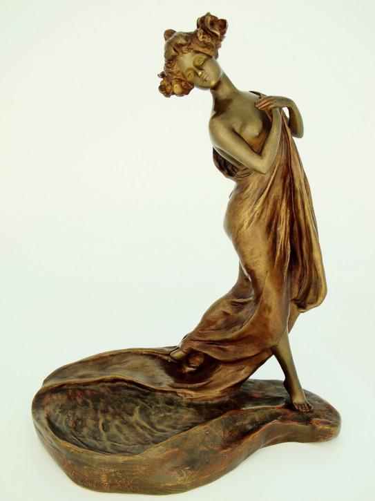 """Art Nouveau Antike Bronze Figur """"Au Bain"""" Jungfrau Gewand Belgien ca 1900"""