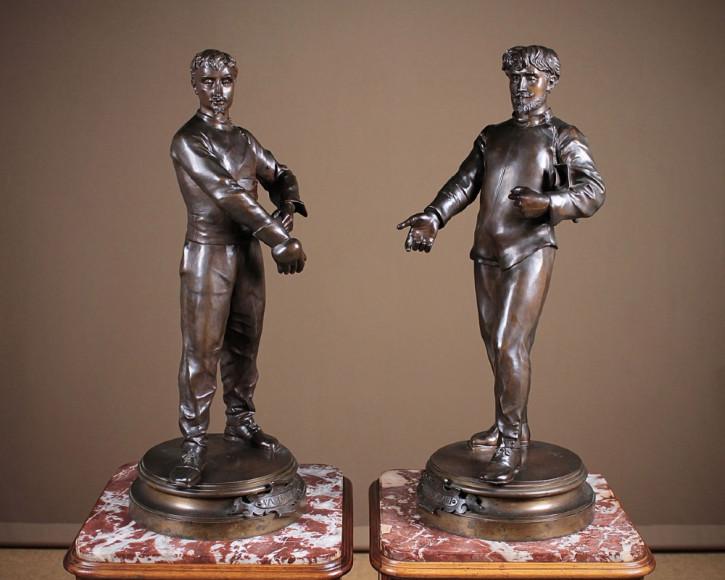 Große original antike französische Bronze Figuren E. Voyer c.1900