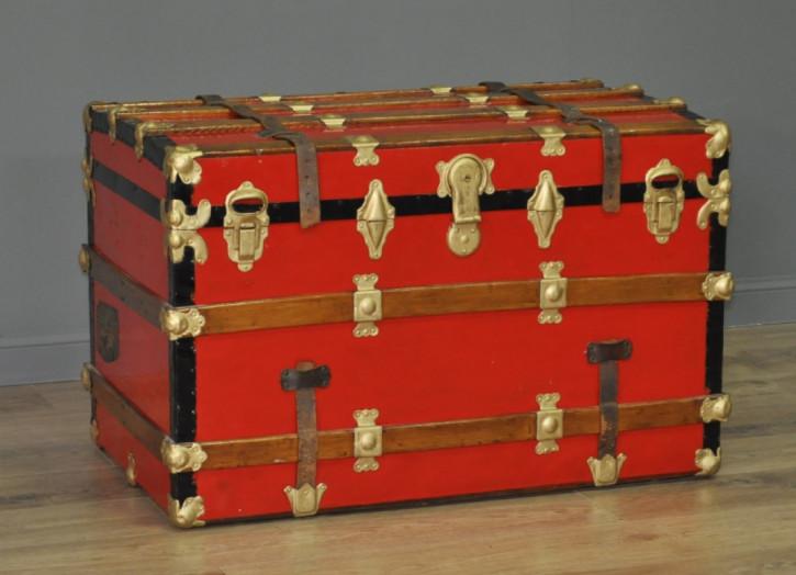 Original antike große Holztruhe Kiste lackiert Metall englisch 1920