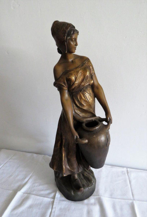 Große original antike Terrakotta Figur Wasserträgerin Goldscheider ca 1900