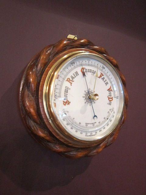 Original antikes viktorianisches Schiffsbarometer Eiche englisch ca 1880