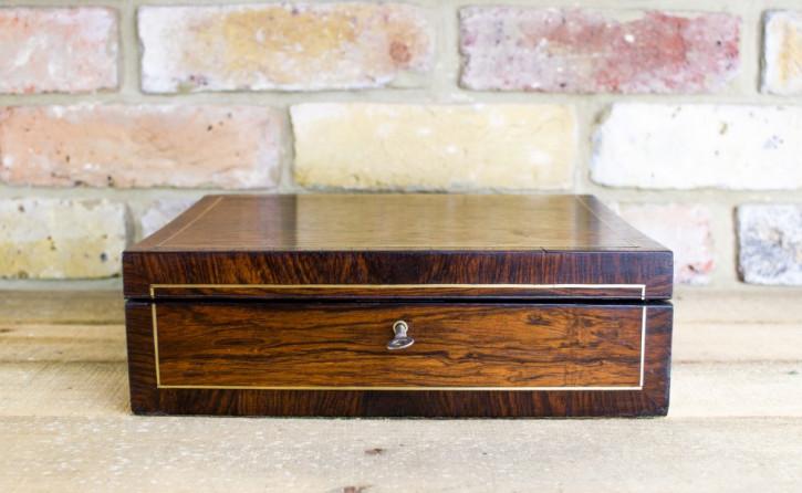 Original antike Palisander Box Regency Kiste Messing englisch ca. 1830