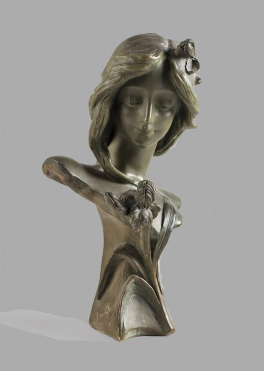 Hübschefranzösische Art Nouveau Terrakotta Figur Büste Frau antik ca 1910