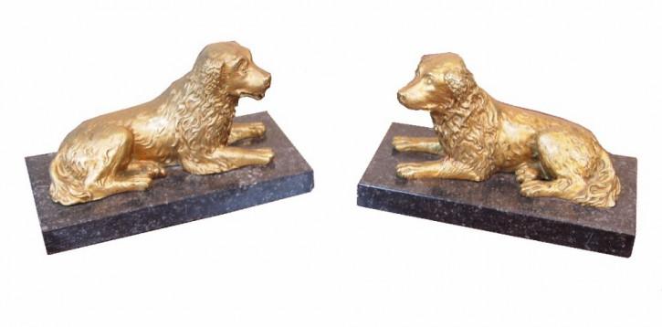 Englisches Regency Ormolu Figurenpaar Spaniel Hunde antik ca. 1830