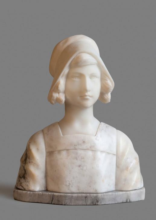 Französische geschnitzte Frauen Alabasterskulptur antik ca. 1910