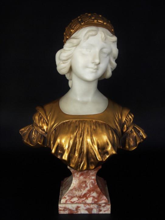 "Original Anitke Französische Calendi Bronze ""jeune fille au bonnet"" ca. 1880"