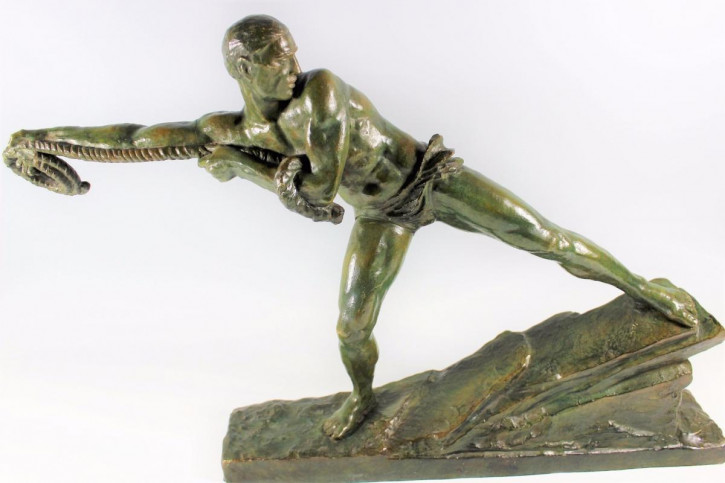 "Original Antike Französische Art Deco ""Lariat"" Bronze von Pierre le Faguays c.1930"