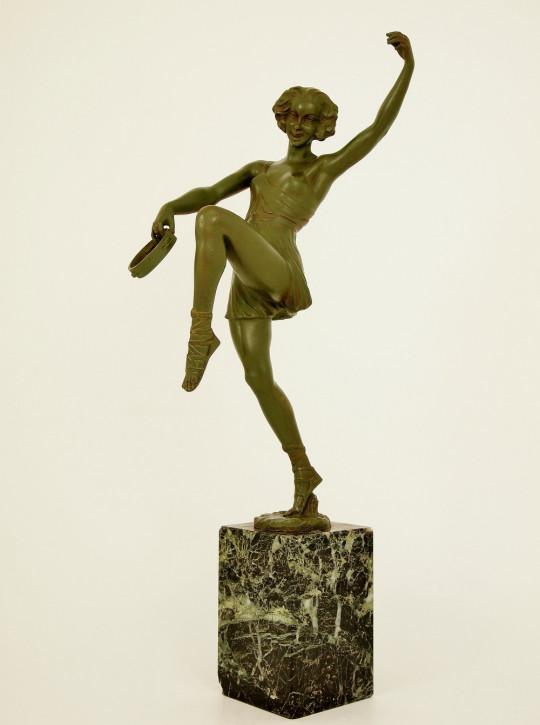 Bezaubernde Französisiche Bronze Tamburintänzerin von Faguays antik ca. 1930