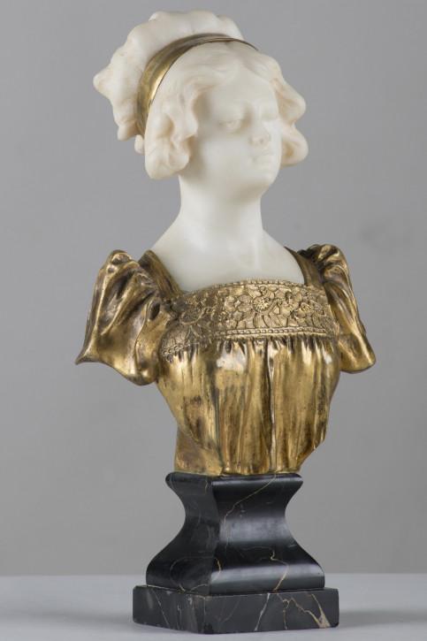 Original Antike Italienische Marmor Bronzeskulptur Frau ca. 1890