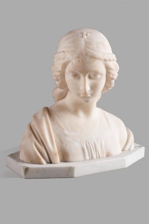 Beeindruckende Französische Antike Alabaster Skulptur Frau ca. 1910