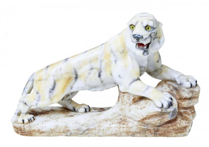 SchöneAntike Englische Art Deco Alabaster Tiger Figur ca. 1920