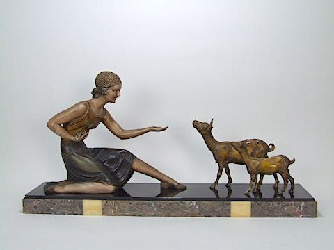 Original Antike Französische Art Deco Spelter Figuren Gruppe Chiparus ca. 1925