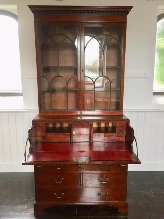 Antikes original georgianisches Mahagoni Bureau Bookcase englisch ca 1780
