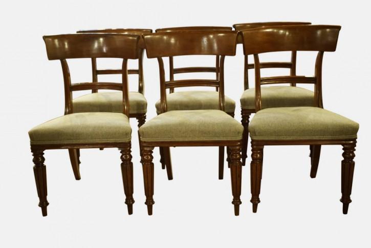 6 stk. original britische Mahagoni Stühle Küchenstühle antik ca 1830