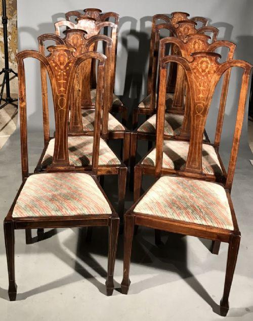 8 Stk original antike Mahagoni Stühle Küchenstühle Perlmutt englisch ca 1880