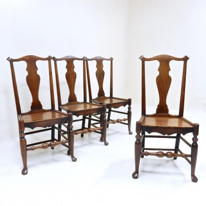 4 Stk original georgianische englische Landhaus Stühle Ulme Küchenstühle antik ca 1800-30