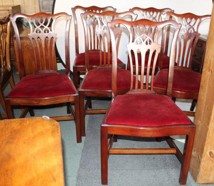 6 stk original edwardianische englische Mahagoni Esszimmerstühle antik ca 1890