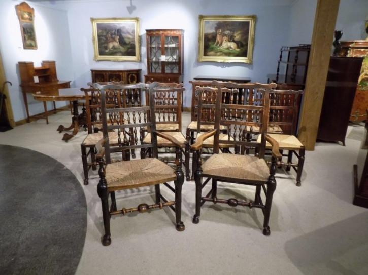 10 Stk original englische Landhaus Stühle Esche Ulme Küchenstühle antik 19. Jh