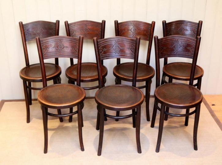 7 Stk original englische Bugholz Stühle Bentwood chairs  Küchenstühle antik ca 1910